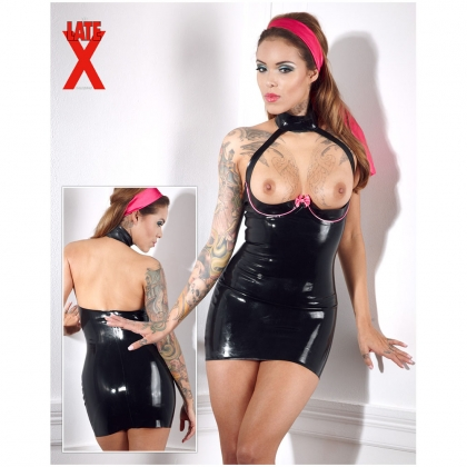 Latex Kleid schwarz/rosa 2XL