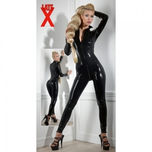 Latex Catsuit schwarz 2XL