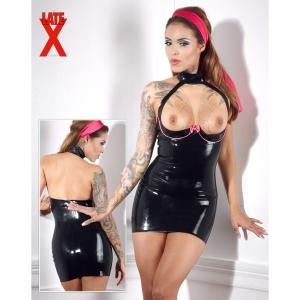 Latex Kleid schwarz/rosa XS